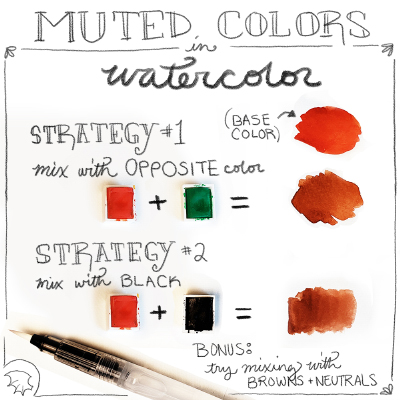 How to pick muted colors with watercolor