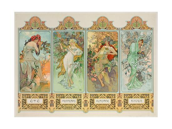 Alphonse Mucha Four Seasons