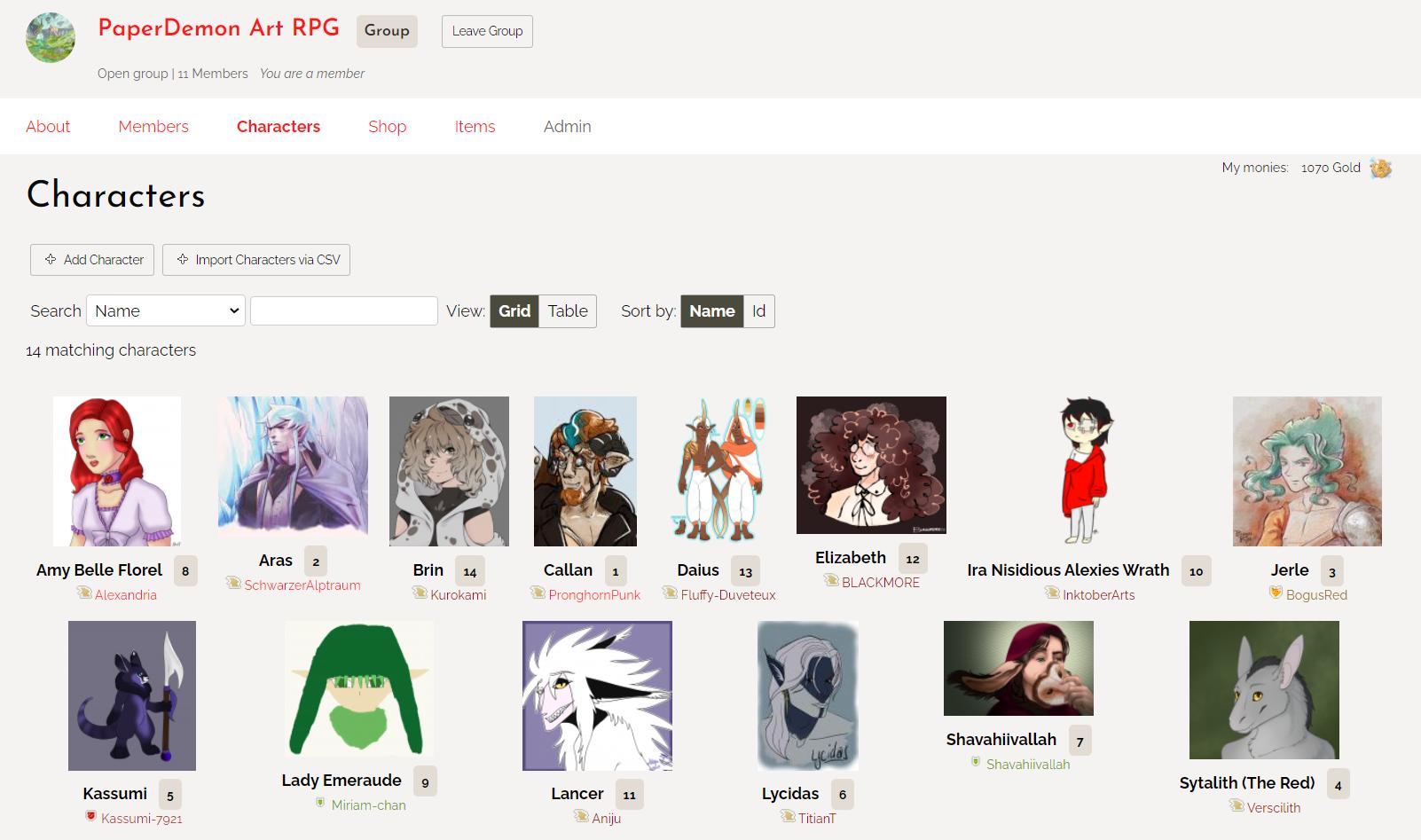 List of Art RPG Characters