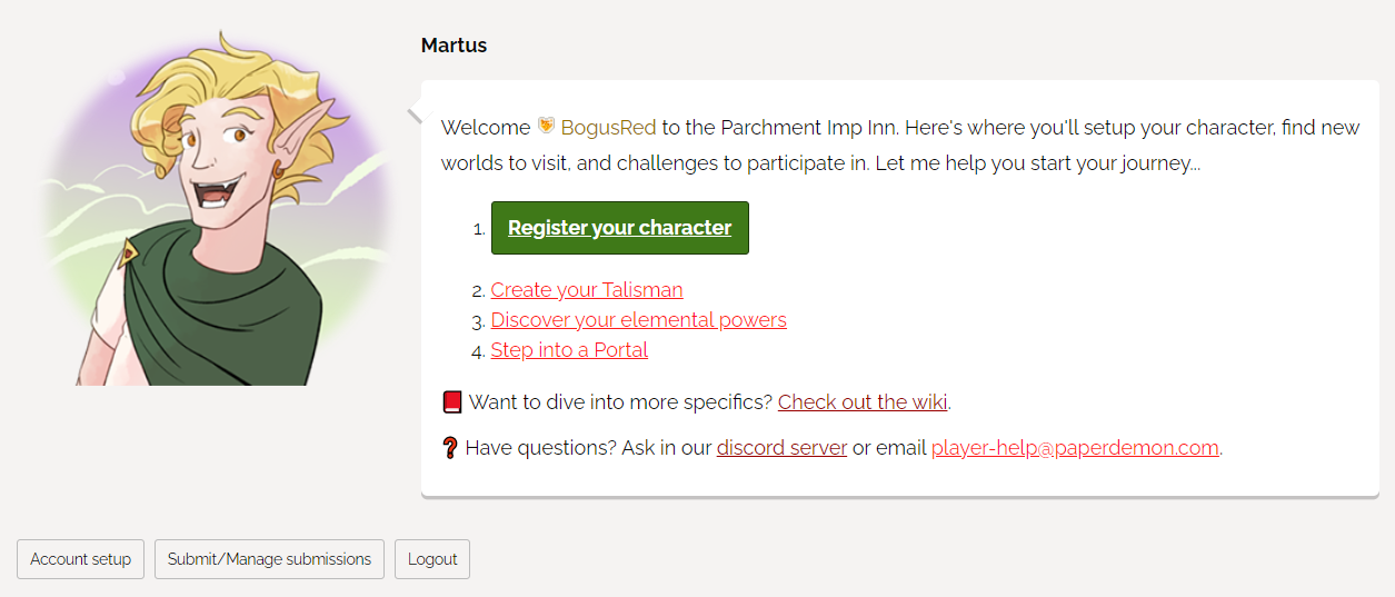 Martus introduces new players how to setup their characters.
