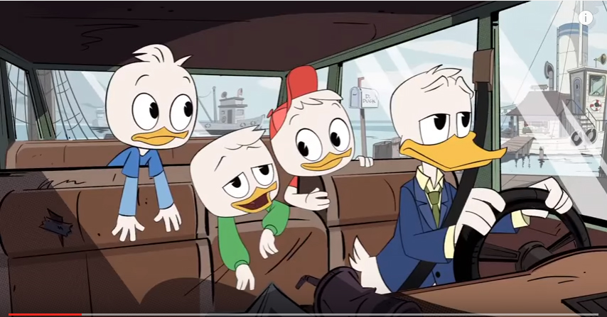 donald duck in his car